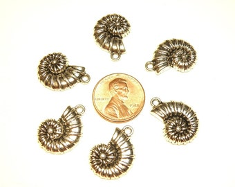 Six (6) Pewter Silver Ammonite Nautilus Pewter Silver Charms