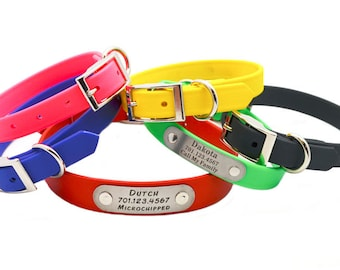 Waterproof Collar with Laser Engraved NamePlate - 8 Colors