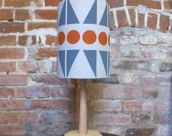 Screen printed Martha print lampshade in grey and rust