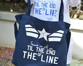 Captain America Bucky Because I'm with you till the end of the line tote bag