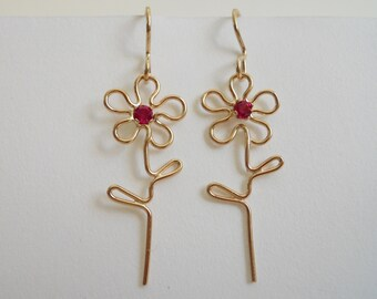 Flower Power Dangle Earrings with stone 14k Gold Filled