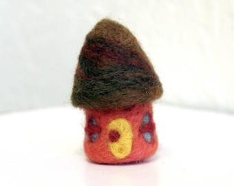 Needle Felted Gnome Fairy House Land - Soft Sculpture Figurine - Felt Woodland Landscape - Felted Gnome House Miniature - Ready to Ship