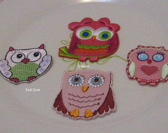 4pcs/lot     owl embroidered   iron  on patch  DIY  2-2.5inch  5-6cm
