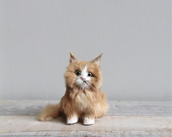 Vintage Fur Kitten Figure