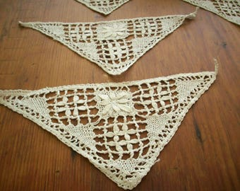 1-1800s antique lace appliqué child's heirloom collar pièce or adult inset