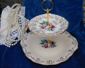 SALE - 1950's ORCHID CHINTZ Cake Stand - Two tier - Wedding gift - Pink Orchid - Gold Chintz - Vintage cake stand - Afternoon tea