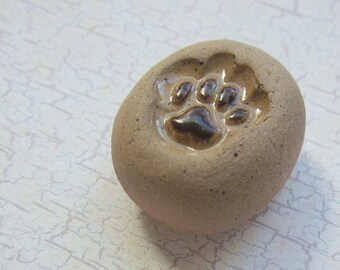 Memorial Keepsake Pocket or Bowl Cremains Stone - Custom Handmolded Pottery Pet Cremation Rock - UNGLAZED w/ GLAZED DETAILS