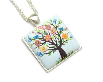 Tree-Of-Life jewelry Nature necklace Floral pendant necklace Tree-Of-Life necklace pendant  Polymer clay necklace pendant  Gift for her