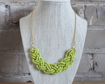 Lime Green Statement Necklace with Gold Chain, Lime Green Braided Bead Necklace, Lime Green Multistrand Necklace, Gold Chain