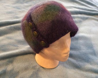 Multi color felted wool handmade hat