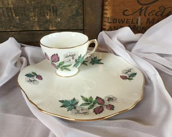 Royal Vale Bone China Snack Set / pattern 7974 / White and Pink Flowers / Pink and Green Leaves/ Mid Century China