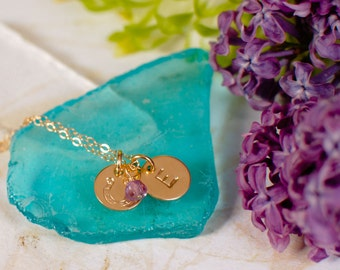 Horseshoe Necklace with Initial - Tiny Gold Horseshoe pendant with Personalized Initial and Birthstone - Lucky Horse shoe