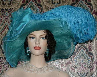 Dark Aqua Kentucky Derby Hat, Ascot Hat, Edwardian Tea Party Hat, Titanic Hat, Somewhere in Time Hat, One of a Kind Hat - Lullahby Lily