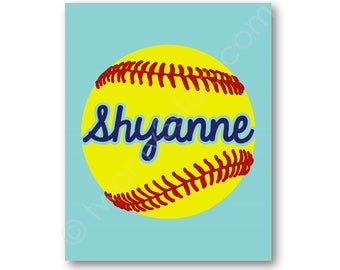 Softball Name Poster, Custom Softball Art, Softball Team Gift, Softball Coach Art, Softball Poster, Softball Canvas, Softball Name Art Print