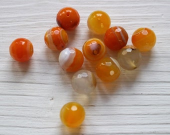 SALE 12mm orange faceted agate beads