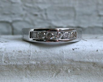 Vintage Channel 14K White Gold Diamond Wedding Band - 0.42ct