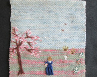 """SALE -Handwoven wall art , Woman in a park,  8x11"""""""
