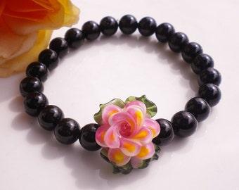 Lampwork Glass Pendant Beaded Bracelet Peace Rose Black Swarovski Pearls