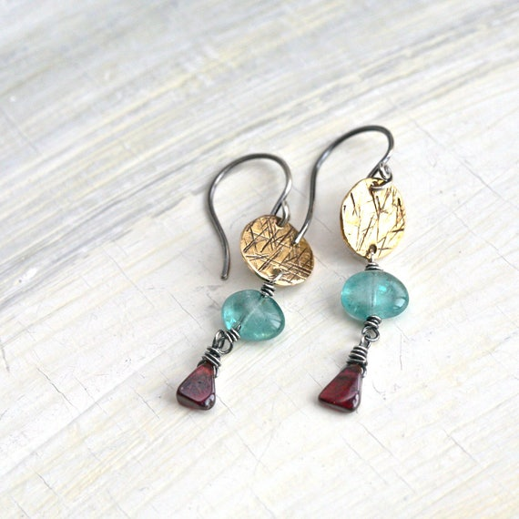 Akhenaten  - Sterling Silver and Brass Wire Wrapped Earrings with Garnet and Apatite