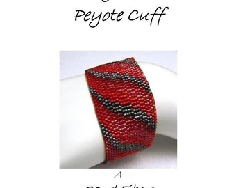 Peyote Pattern  - Red Bargello Ribbon Peyote Cuff / Peyote Bracelet - A Sand Fibers For Personal Use Only PDF Pattern - 3 for 2