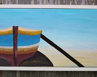 Minimalist Rustic Boat Acrylic 24x48 inch Painting- Original Art