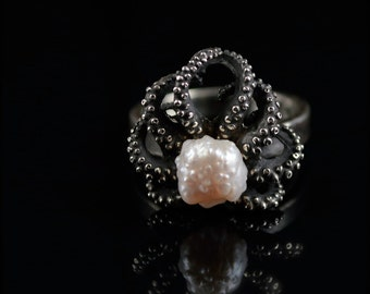 SALE - Handmade ring, Tentacle ring, pearl ring, Octopus Ring, RoseBud Pearl Octopus Ring, Tentacle Ring - OctopusME size 8