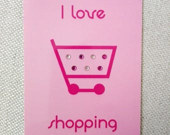 "Postcard card, ""shopping"", pink and fuchsia"