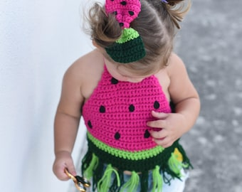 Watermelon Crop Top/ Watermelon Bow/ Watermelon top/ Watermelon shirt/ Watermelon outfit/ Girls crop top/ Girls top/ Girls clothes/