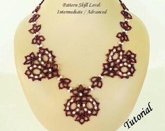 SCARLETT beaded necklace beading tutorial beadweaving pattern seed bead beadwork jewelry beadweaving tutorials beading pattern instructions