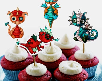 Baby Dragon Cupcake Toppers print cut and make your own DIY instant download boy birthday party decor