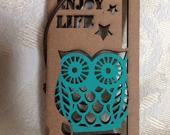 Hand Painted Owl Tag