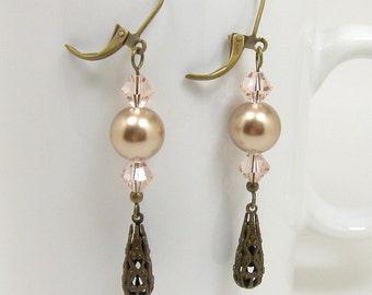 Swarovski Crystal Earrings, Pearl Drop Earrings, Antique Brass Leverbacks, Vintage Inspired