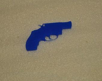 5 clear acrylic GUN key chain blanks
