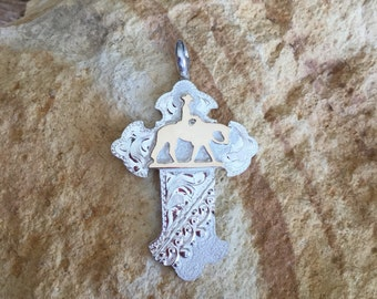 "Pleasure Horse Cross with silver lace / sterling silver/ Artisan  handmade /      1 3/4"" tall"