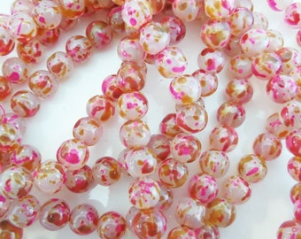 8mm Red, Clear and Gold Glass Beads, 40CT. Round Beads, S34, watercolor, splatter
