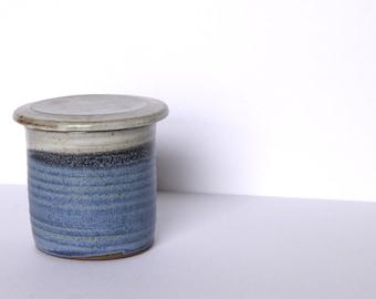 Vintage Blue French Butter Keeper - Ceramic Butter Keeper -  Pottery Butter Dish - Stoneware Crock - Ceramics - Pottery