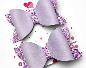 Lilac hair bows, glitter hair bows, hair accessories, set of two hair bows
