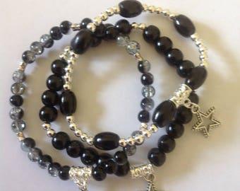 Black bracelets 3 stacking bracelets beaded bracelets handmade bracelets bracelets set stretch bracelets charm bracelets stretch bracelets