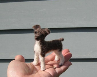 Needle Felted Dog  / Custom Pet Portrait Sculpture by GERRY Poseable Lifelike / example Rat Terrier / Gift Idea