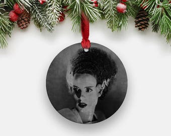 Bride of FRANKENSTEIN Holiday Ornament - Round Aluminum Circle Hanging Christmas Tree Ornament, Gothic Vintage Halloween Stocking Stuffers