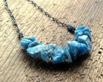 Rough Gemstone Necklace Apatite Sterling Silver Bohemian Jewelry Raw Crystal Necklace,Boho Jewelry