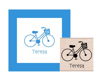 Bicycle with Basket Personalized Rubber Stamp