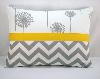 Grey Dandelion Pillow Grey Chevron Accent Pillow Grey Yellow Lumbar Pillow 13x18 Cover Only