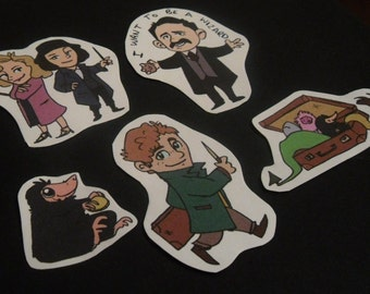 Fantastic Beasts and Where to Find them - Stickers! Sticker pack of five or individuals-Newt Scamander, Niffler, Goldstein sisters and Jacob