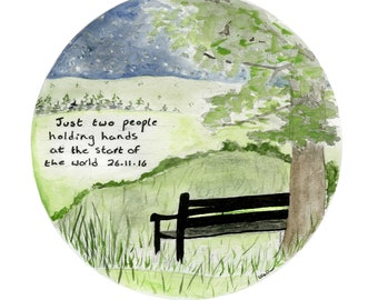 Custom Landscape Painting with Quote of your Choice | Circular painting ideal for anniversaries | Can be mounted