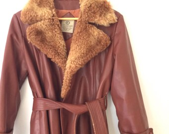 Vintage Pleather Faux Fur Vegan 70s Trench