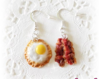 Bacon And Eggs Earrings, Breakfast Earrings, Funny Earrings, Mismatched Earrings, Miniature Food Jewelry, Bacon Earrings, Bacon Lover Gift