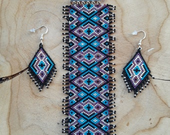 Cuff Bracelet and matching earrings ethnic.