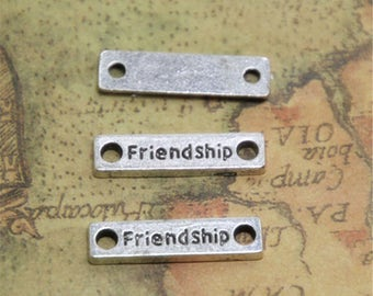 10 PCs Friendship Charm Friendship Connector Silver TONE  Fittings Accessories 25*5MM ASD0448