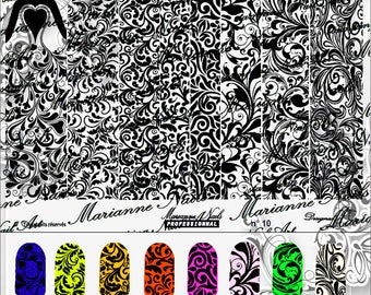 Nail art stamping plate Marianne Nails arabesque 10